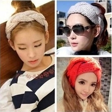 Free Shipping Fashion New Crochet Flower Twist Knitted Head wrap Headband Winter Warmer Hair Band for Women Accessories OH0536