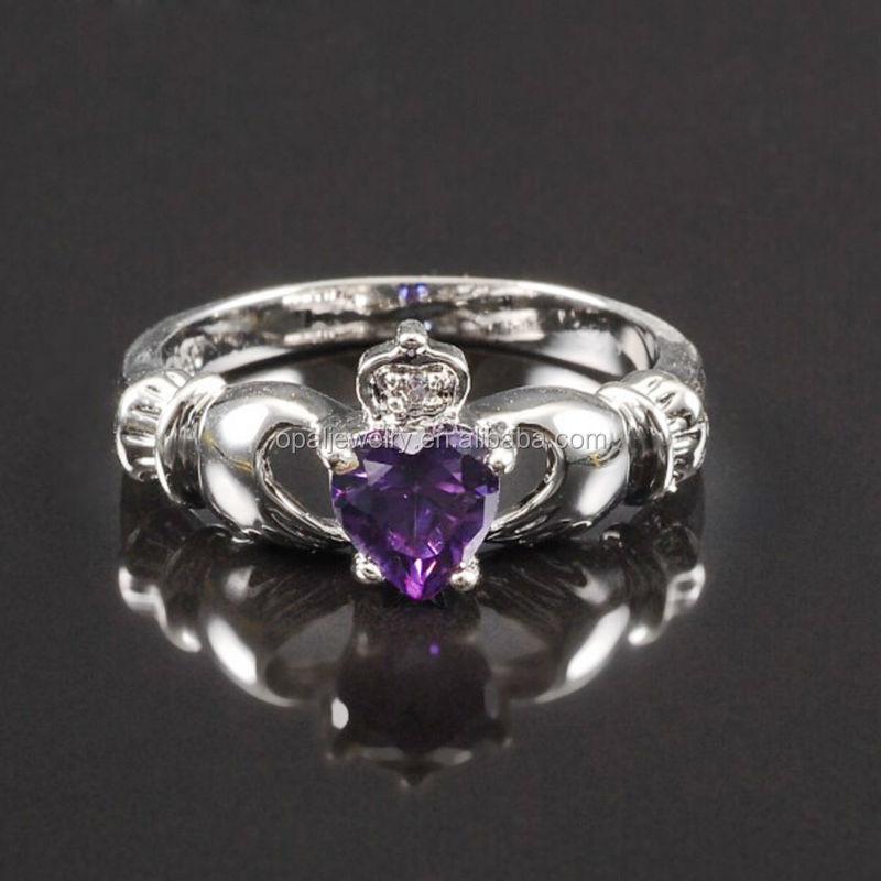 Claddagh Ring Amethyst Silver