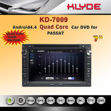 factory wholesale and retail Android4.4 quad core 1024*600 touch screen ROM 16G car DVD player for passat B5