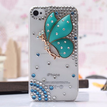 Butterfly Rhinstone cover Hard Crystal Diamond Back Case For iphone 5G 5S
