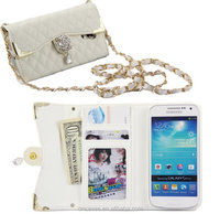 Luxury wallet leather shoulder bling bling rhinestone case for samsung galaxy S4 I9500