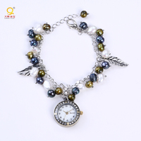 Fancy ladies bracelet wrist watch charm watch