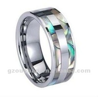Abalone Shell Inlay Faceted Shiny Top Tungsten Carbide Women's Wedding Band, Shell Wedding Ring for Couples