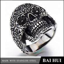 Biahui Jewelry-316 Stainless Steel Mens Gothic Biker Jewelry Skull Ring Oxidized Black/Hot Sale Quality Biker Jewelry Rings
