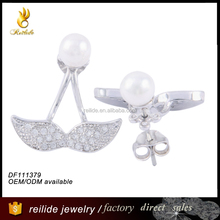 fashion unique DF111379 pearl earring designs,value 925 silver ring