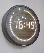 2015 new design LED digital wall clock with wooden glass