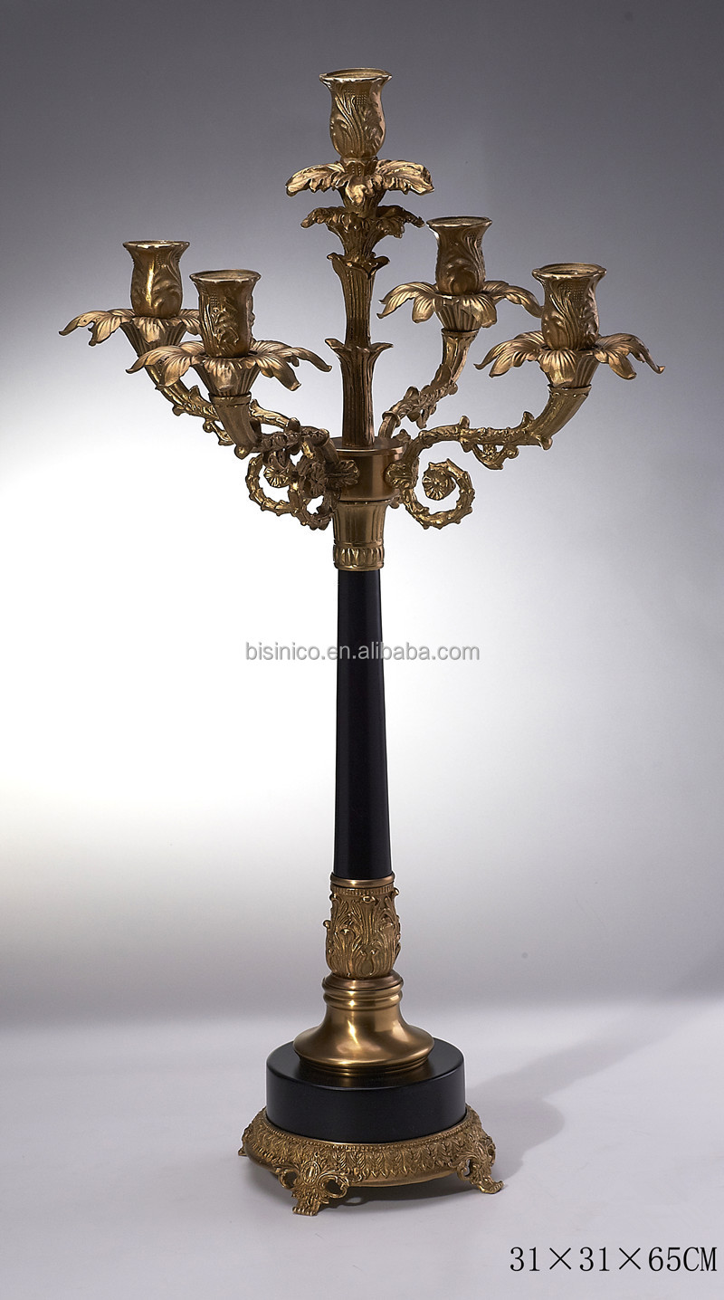 Luxury arms candelabra candle holder antique brass