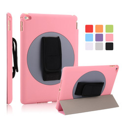 9 Colors Ultra Slim Smart Tripled Folded Case Handheld Flip Cover for iPad Air 2 for iPad 6 with Auto Wake Up Function