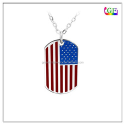 Custom metal dog tag american Flag patterns necklace
