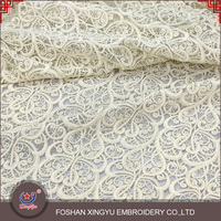 Fashion lowest price wholesale 100% golden yarn embroidery designs ladies tops gold lace fabric