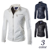 New Europen style men's slim Faux Leather Coat