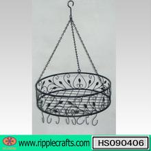 Popular Matt Black Round Hanging Metal Pot Rack with 8 Hooks