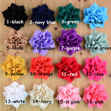 Top Chiffon petal flower,handmade chiffon fabric flower brooches,Chiffon Fabric Sharp Petal Flowers FLAT BACK headwear