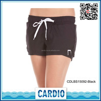 91%polyester hot sex girls shorts solid black color womens shorts