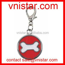 Vnistar round dog charms tag for pet with lobster catch TC004 with bone image on