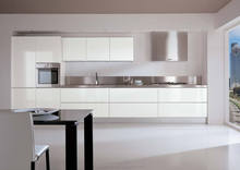 Foshan high gloss kitchen cabinets white lacquer kitchen cabinets(painted 3 times on the primer and surface)