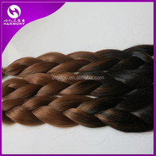 Stocks 100% ombre color kanekalon jumbo braiding hair/ombre kanekalon synthetic braiding hair/rainbow kanekalon jumbo braid