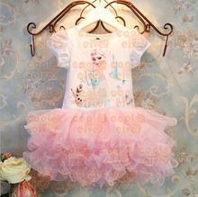 cheap frozen Anna&Elsa sister children bubble dress for baby girls