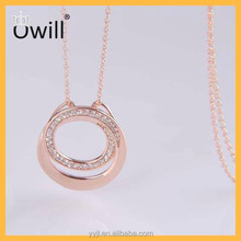 Fashion Jewelry 925 Sterling Silver Wholesale 2 Connected Circles Rose Gold Zircon Italian Pure Silver Chain Necklace