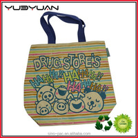 2015 Yueyuan manufacturer OEM heavy duty custom full color printed chevron high quality canvas tote bags