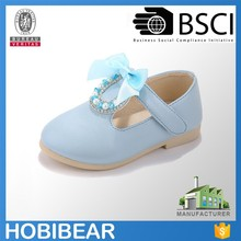 HOBIBEAR little girl blue christian dress shoes with silk bowknot