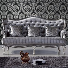 Glamour and Classic 3+2+1 Grey Fabric Sofa Set French Style Furniture Sofa