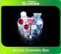 Heart Shape Desktop plastic cosmetic container makeup organizer storage box