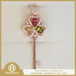 crystal key shape pendant rainbow color tourmaline jewelry