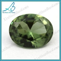 Elegant green oval lab created tourmaline