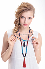 2015 fashion wooden beads long necklaces with tassel dark color simple style
