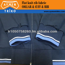 Flat knitted rib fabric for jacket bottom