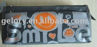 customized printed 3-layer 2 zipper pencil case on front polyester fabric