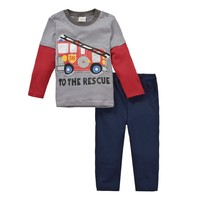 China's brand children's clothes long sleeve T-shirt suit of two-piece bus driving cartoon printed Factory direct sales in China