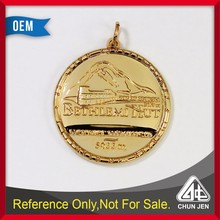 Georgia town house medal relief 2 sides in gold plating