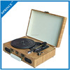 Bamboo Briefcase Three-Speed Portable Vinyl Record Player Turntable with USB recoding