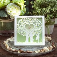 2015 Hot Sales Wholesales Green Card White Laser Cut Tree Invitation