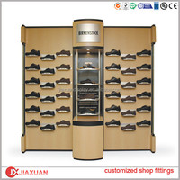 wood slatwall display for shoe, retail shoe display