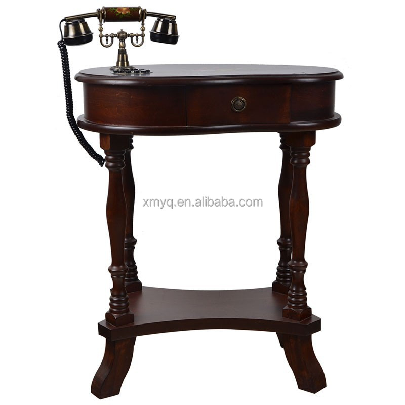 Painted wood coffee tables - Antique Hand Painted Brown Wood Telephone Table Antique Telephone