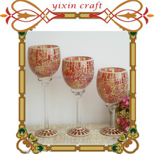 2015 Crackle Glass Mosaic Candle holder Set 3,Goblet Candle Holder for Wedding Centerpeice