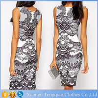 Wholesale Contrast Floral Lace Print Sexy Midi Dress Club Wear For Ladies