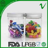 PET Food Grade Clear Cylinder Plastic Candy Jar with Aluminium Lid