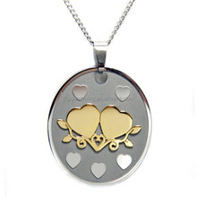 Hold A True Friend With Both Your Hands Circular Pendant Necklace With Gold Plated Hearts