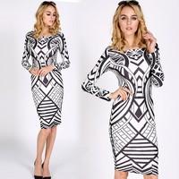 2014 Fashtion Women's Tribal Aztec Black White Cocktail Tight Bodycon Teen Dress SV007693#