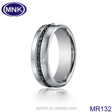 Monick company 8mm men titanium rings , brushed wedding ring with black stone
