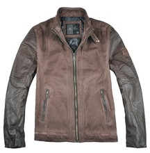 2015 lastest fashion mens quilted denim jacket leather sleeves