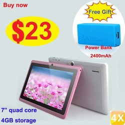 cheapest $23 Allwinner a33 quad core 7 inch tablet android 4.4 with Free gift 2400mah power bank