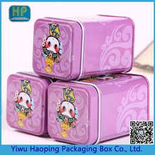 Lovely purple candy tin cans,Cute Beijing opera printing Cookie&tea tin box