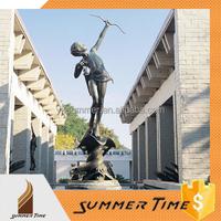 Bronze child archery fountain sculpture for decoration