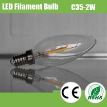 2015 China hot sale C35 clear glass led filament bulb 2W, led bulb light for house