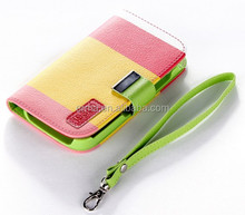 Trendy Contrast Color Flip Leather Case for Samsung i9300 Galaxy S3